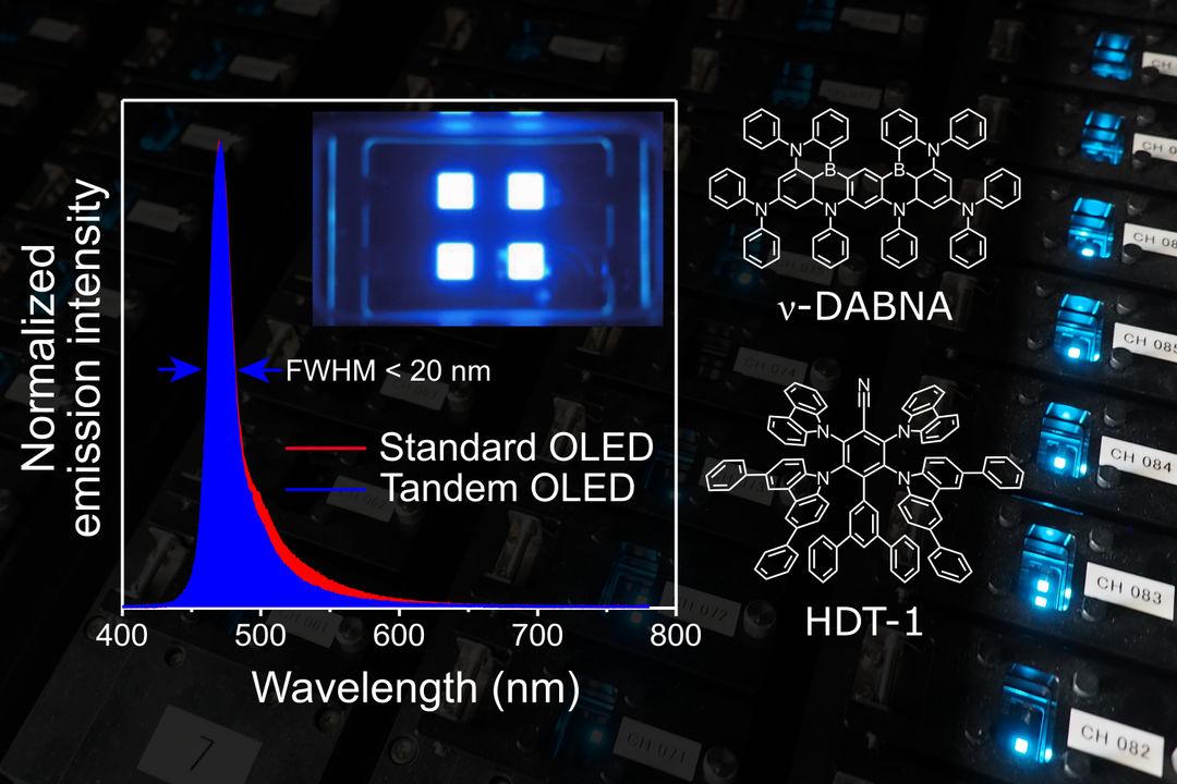 Hyperfluorescence for improved blue OLED lifetime
